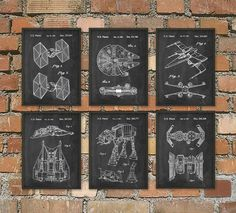 Star Wars Patent Prints Set Of 6 - Star Wars Millennium Falcon - Star Wars Bedroom Wall Art - Star Wars Movie Patents - Science Fiction  This set of six star wars posters is printed using high quality archival inks on heavy-weight archival paper with a smooth matte finish. The archival properties of the professional materials used to produce these prints will prevent yellowing of the paper and fading of the colors for at least 80-100 years!  Please choose between different colors and sizes…