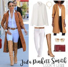 Jada Pinkett Smith camel trench and over-the-knee boots look for less