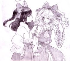 Reimu and Marisa Shrine Maiden, Kawaii, Old Games, Anime Couples, Wonders Of The World, Cute Girls, Chibi, Video Games, Aesthetics