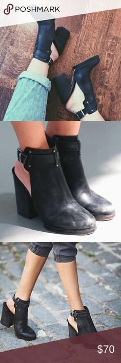 Free People Breton Heel - size 37 gorgeous black leather Free People chunky heeled clog - size 37 Free People Shoes Ankle Boots & Booties