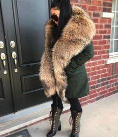 Instagram media by iamjenniferle - Shawl Hooded Fur Parka x Driftwood Boots #IAMJENNIFERLE