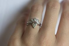 White Sapphire Ring Marquise Crown Ring Sapphire by MinimalVS