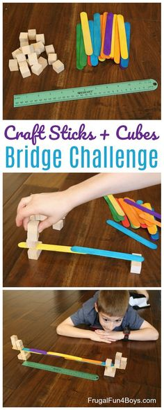 Bridge Building STEM Challenge:  Build the longest possible bridge with craft sticks and wooden cubes.