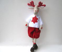Reindeer Rudolf-fabric Tilda doll,stuffed doll,cloth doll, handmade, child friendly, art doll, Christmas, gift decor, moose