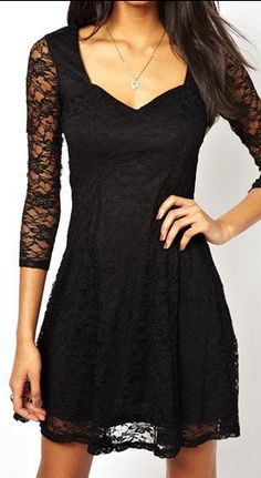 Black Lace Overlay Three Quarter Sleeve Dress