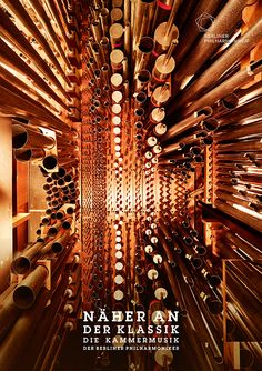 This print campaign for the Berlin Philharmonic orchestra uses macro photographs taken inside the cramped spaces of instruments making the inner workings of a violin, cello, flute, and pipe organ appear vast and spacious, almost as if you could walk around inside them. So wonderfully done. Art directed by photographer Bjoern Ewers    Source: http://be-ad.com/