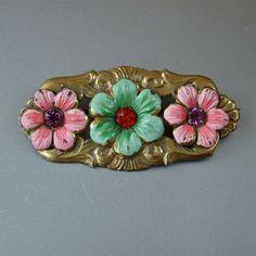 Vintage Brooch Pastel Enamel Czech Floral Art by prettyinprague, $28.00