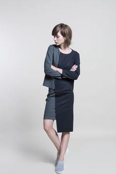 Shading Structural Top & Shading Pencil Skirt #nuditefashion #nudite #design #white #line #minimal #minimalist #simple #pale #plain #AW