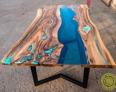 Live edge river dining table with turquoise glowing resin image 0 Resin Patio Furniture, Wood Resin Table, Epoxy Resin Table, Outdoor Dining Furniture, Living Furniture, Wood Table, Backyard Furniture, Live Edge Tisch, Live Edge Table