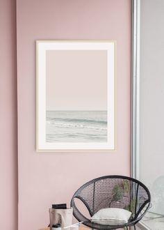 Pale Green Ocean and Pastel Pink Sky Art Print. Green Wall Decor, Wall Art Decor, Pink Sky, Pastel Pink, Interior Styling, Interior Design, Green Ocean, Tropical Art, Sky Art