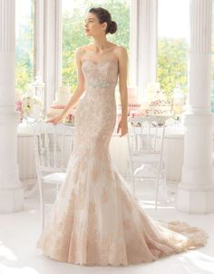 A beautiful lace fit to flare gown in a soft blush.
