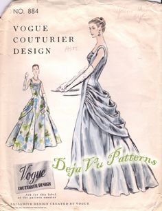 Vogue 884 Vintage 1950s Evening or Ball Gown Sewing Pattern Size 16 RARE. $495.00, via Etsy.