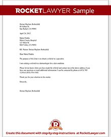 Sample letter requesting medical records business request referral sample letter to request a referral to another doctor spiritdancerdesigns Image collections