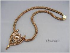 Chelsea This necklace includes bezelling and a rivoli! Seed Bead Necklace, Seed Bead Jewelry, Beaded Necklace, Necklaces, Seed Beads, Geometric Necklace, Geometric Jewelry, Beaded Jewelry Designs, Handmade Jewelry