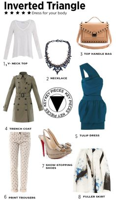 Inverted Triangle type, Dress for your body shape No matter what your body shape is, you can make the most of your gorgeous figure.  Key pieces for an inverted triangle shape. Fashion looks