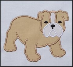 Bulldog Applique designs 3 sizes by DBembroideryDesigns on Etsy, $4.99