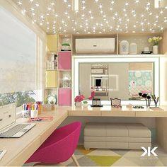 """179 curtidas, 3 comentários -  (@imaginevoceaqui) no Instagram: """"Toque de cor e iluminação pontual, promovem modernidade a quarto que oferece área de tarefas com…"""""""
