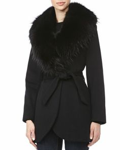 Sofia Cashmere Wrap Jacket with Fur Shawl Collar  one-button front belted wool:cashmere lined with acetate satin BEAVER ( usa ) FUR COLLAR black .  http://www.neimanmarcus.com/Sofia-Cashmere-Wrap-Jacket-with-Fur-Shawl-Collar/prod166680216/p.prod?eVar4=You%20May%20Also%20Like