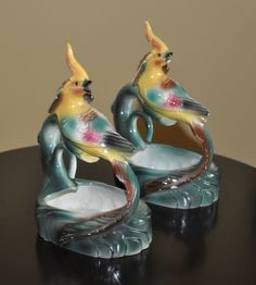 Vintage Maddux (?) California Pottery set of Pheasant (?) planters nice colors