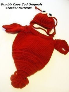 Cappy the Cape Cod Lobsta Cocoon or Bunting and Hat PDF Crochet Pattern number189 Great for Photo Props on Etsy, $5.95
