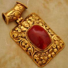 Nepalese Artisan Handmade Coral Gold Plated Pendant from Nepal by Eksha