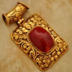 Nepalese Artisan Handmade Coral Gold Plated Pendant from Nepal by Eksha
