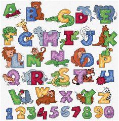 free corss stitch alphabet   Maria Diaz Designs: ANIMALS ALPHABET (Cross-stitch chart)