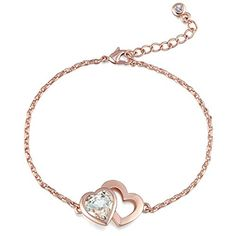 """Fappac 18k Rose Gold Plated Crystals from Swarovski Forever Heart Chain Link Bracelet, 6.5 1"""" Ext *** Check this awesome product by going to the link at the image."""