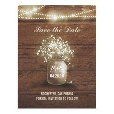 Rustic Wedding Save the Date baby's breath mason jar rustic save the date postcard