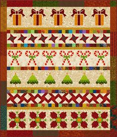 Christmas Row Quilt Pattern - six different rows in with three different quilt block sizes.