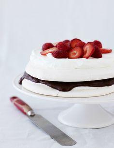 "Vacherin- meringue layers with chocolate ganache and ""cream"""