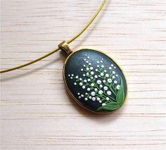 Lily of the Valley Flower Necklace Green Necklace White Flower Necklace Polymer Clay Floral Jewellery Cabochon Necklace Flower Jewelry Floral Pendant
