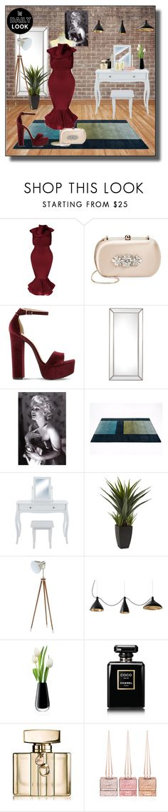 """""""Untitled #4751"""" by empathetic ❤ liked on Polyvore featuring Badgley Mischka, Steve Madden, Chanel, Umbra, LSA International, Gucci, Christian Louboutin and Clinique"""
