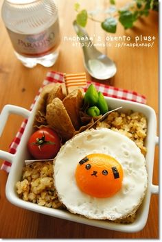 Easy-to-make, Sunny side up with nori seaweed face bento by naohaha