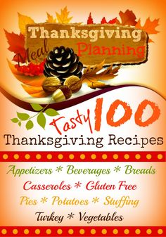 100 Tasty Thanksgiving Recipes including #glutenfree choices!