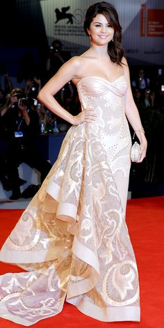 Selena Gomez -  Atelier Versace gown. A sparkling clutch and gold jewelry completed the ensemble.