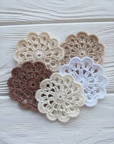 Your place to buy and sell all things handmade - crochet doilies para tejer ganchillo Diy Crochet Flowers, Crochet Puff Flower, Crochet Diy, Crochet Flower Patterns, Flower Applique, Irish Crochet, Crochet Crafts, Crochet Ideas, Crochet Placemats