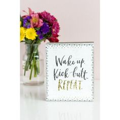 Wake Up Kick Butt Box Sign (20 AUD) ❤ liked on Polyvore featuring home, home decor, wall art, black white wall art, black and white home decor, black white home decor and black and white wall art