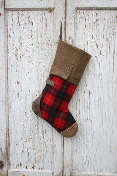 reserved for troy christmas stocking plaid tartan wool red suede toe - Plaid Christmas Stockings