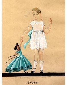 Illustration for girls dress by Jeanne Lanvin. #Lanvin #Lanvin125