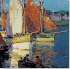 Brittany Fishing Boats - Edgar Payne 1882-1947 Oil on canvas