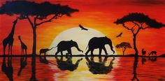 African Sunset by StrefaZamknieta on DeviantArt Africa Painting, Africa Art, Africa Flag, Kenya Africa, South Africa, Sunset Tattoos, African Art Paintings, African Sunset, Silhouette Painting
