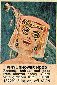 """Vinyl shower hood with """"glamor trim"""" ... (see the bangs & earrings & two black eyes with a star tear face tattoo) Is she singing, or SCREAMING?"""