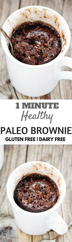 1 Minute Healthy Flourless Gluten Free Muffin. Easy Paleo Breakfast Brownie.