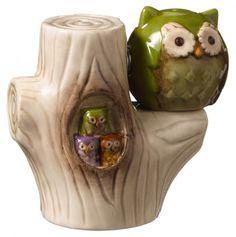 Owl In Tree Magnetic Salt and Pepper Shaker Set