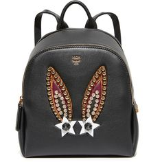 MCM Polke Bunny Backpack (5.480 RON) ❤ liked on Polyvore featuring bags, backpacks, black, studded backpack, mcm backpack, mcm bag, slim backpack and studded leather bag
