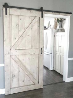 "Framed British Brace Style Rustic Sliding Barn Door "") - White chippy paint Barn Door - Gray Wash - Sliding 2 Panel Z Style - Walston Door Company Budget-friendly Barn Doors For House Design, House, Farmhouse Decor, Home, Barn Door Designs, Remodel, Home Door Design, House Interior, Doors"