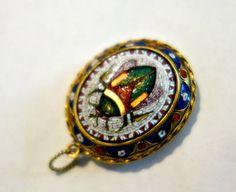 Micro Mosaic 14k gold Scarab Locket Victorian by Mosaicsandjewelry