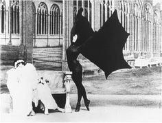 """Perhaps the most famous photo of Musidora from the French silent film serial """"Les Vampires."""" According to the blog from which this image has been taken, it's NOT Musidora but Stacia Napierkowska, who plays Guerande's fiancee Marfa Koutiloff in the second episode. She's on screen for maybe five minutes, dancing in a ballet about vampires."""