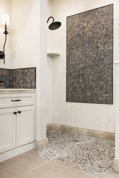 Transitional Style Bathroom With Pebble Mosaic Shower Pan Thetile